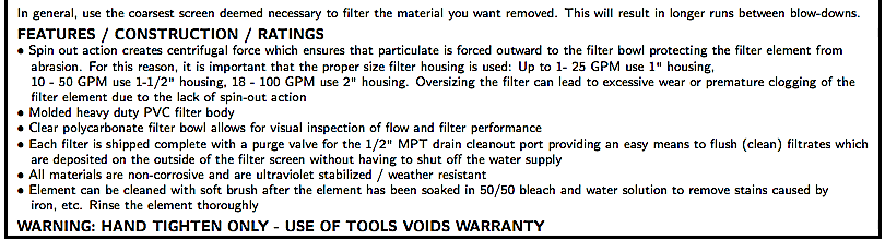 WATER FILTRATION BII STANDARD SPIN-OUT FILTERS