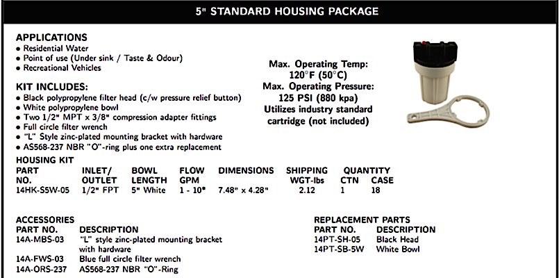 5 inch WATER FILTRATION STANDARD HOUSING PACKAGE