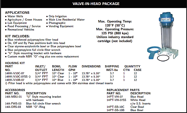 WATER FILTRATION VALVE-IN-HEAD PACKAGE