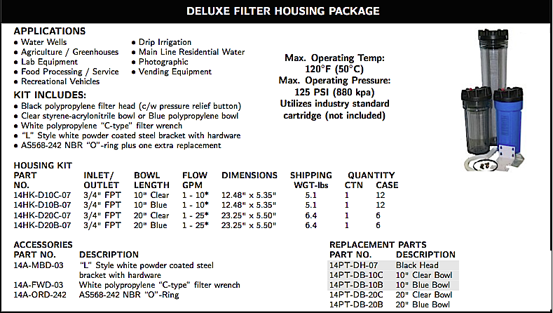 WATER FILTRATION DELUXE FILTER HOUSING PACKAGE