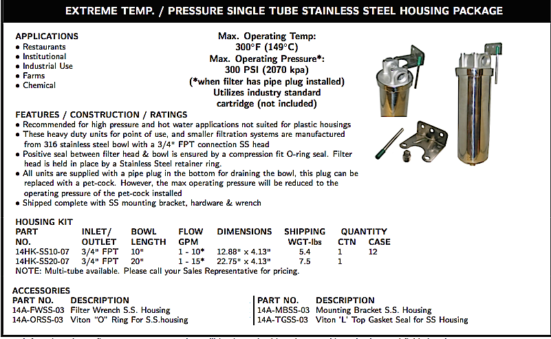 EXTREME TEMP. / PRESSURE SINGLE TUBE STAINLESS STEEL HOUSING PACKAGE