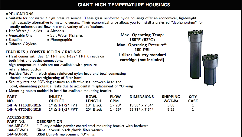 WATER FILTRATION GIANT HIGH TEMPERATURE HOUSING PACKAGE