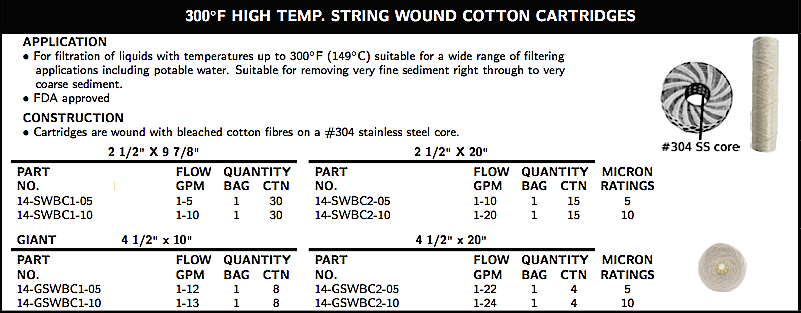 300◦F HIGH TEMP.STRING WOUND COTTON CARTRIDGES