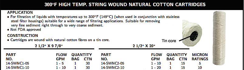 300◦F HIGH TEMP. STRING WOUND NATURAL COTTON CARTRIDGES